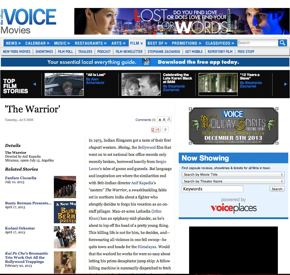 Uday Benegal - Writer: Village Voice - The Warrior